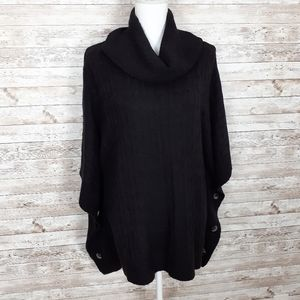 Croft & Barrow Sweater Shawl Cowl Neck Black 280